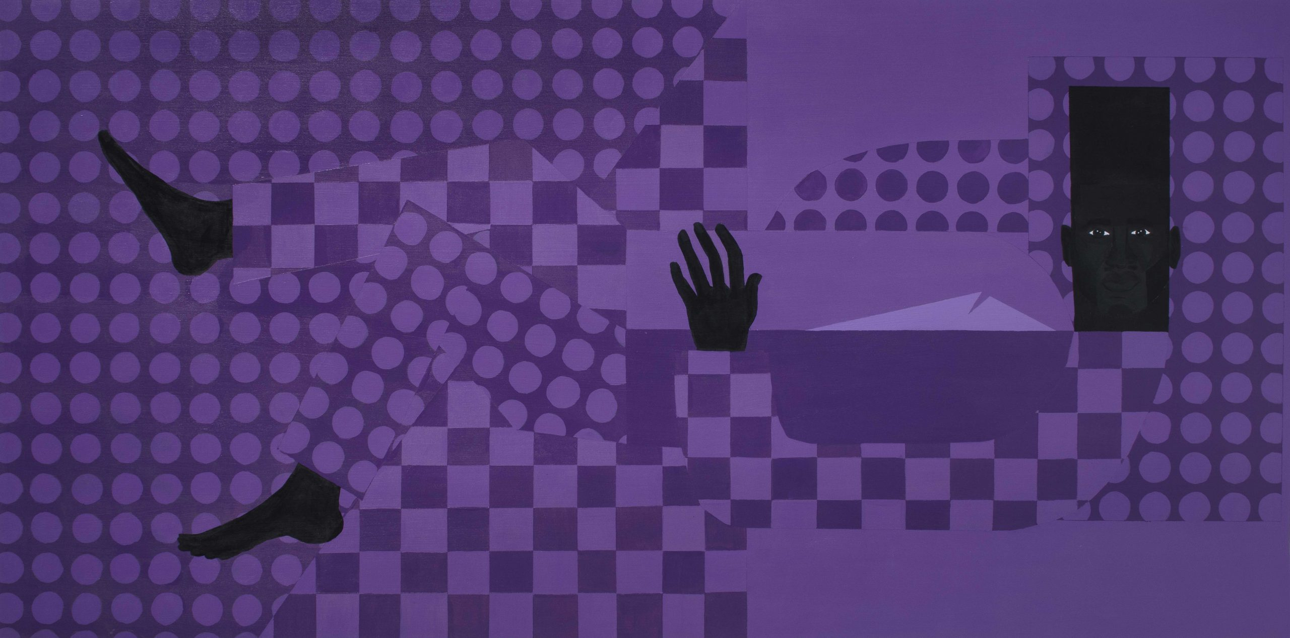 Jon Key. <em>The Man in the Violet Suit No. 14 (Violet Bedroom)</em>, 2020. Acrylic on panel, 36 x 72 inches (91.4 x 182.9 cm)
