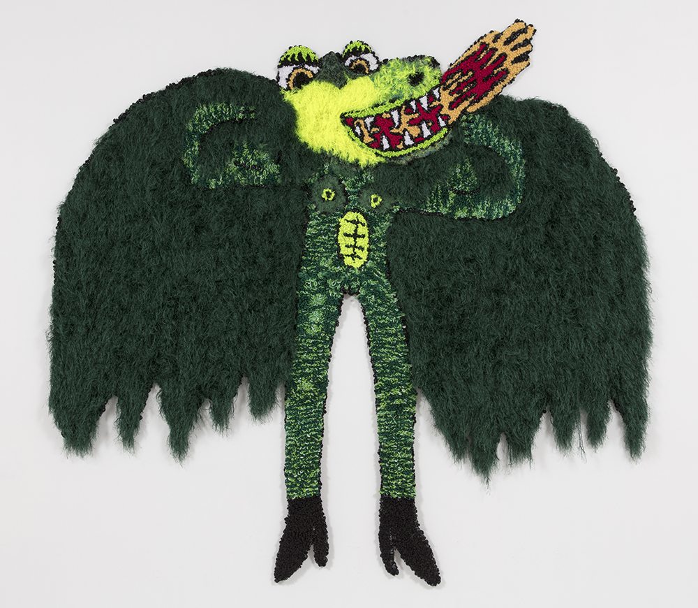 Hannah Epstein.<em> Like a dragon unfurled its wings</em>, 2019. Wool, acrylic, polyester and burlap, 113 x 120 inches (287 x 304.8 cm)