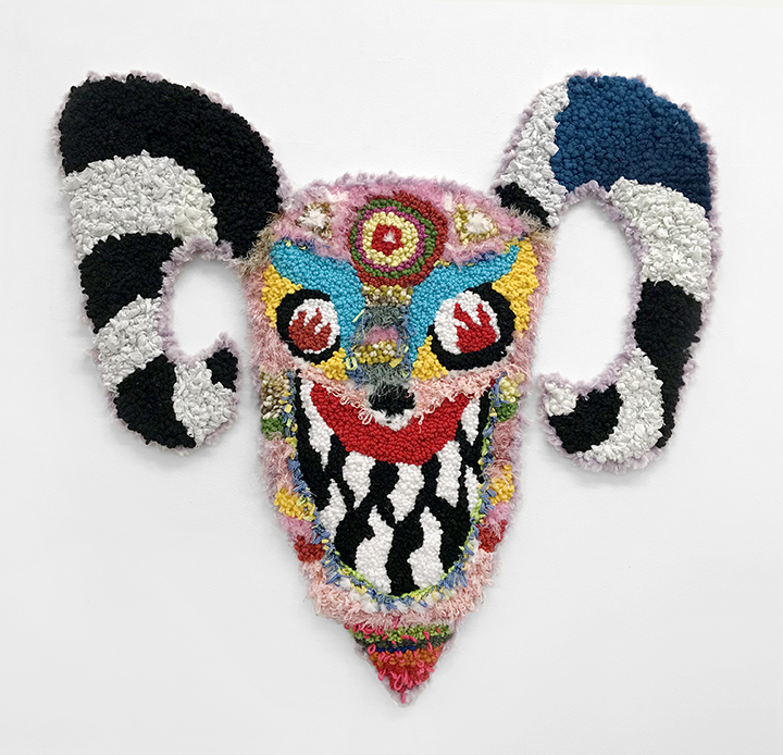 Hannah Epstein. <em>Don't Deal With The Devil</em>, 2019. Wool, acrylic, polyester, cotton and burlap, 41 x 42 inches (104.1 x 106.7 cm)
