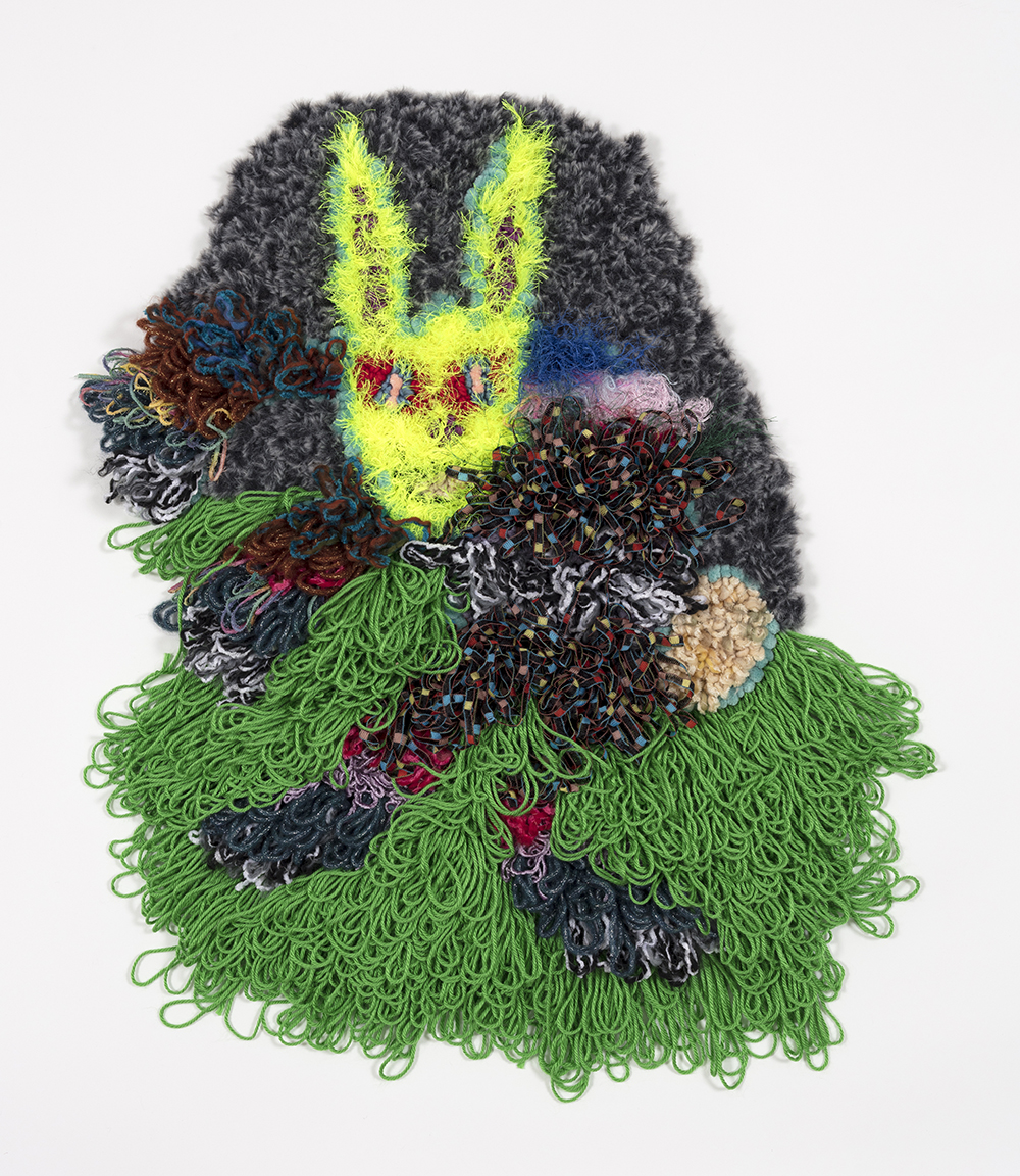 Hannah Epstein. <em>The Midnight Hare</em>, 2019. Wool, acrylic, polyester and burlap, 30 x 20 inches  (76.2 x 50.8 cm)