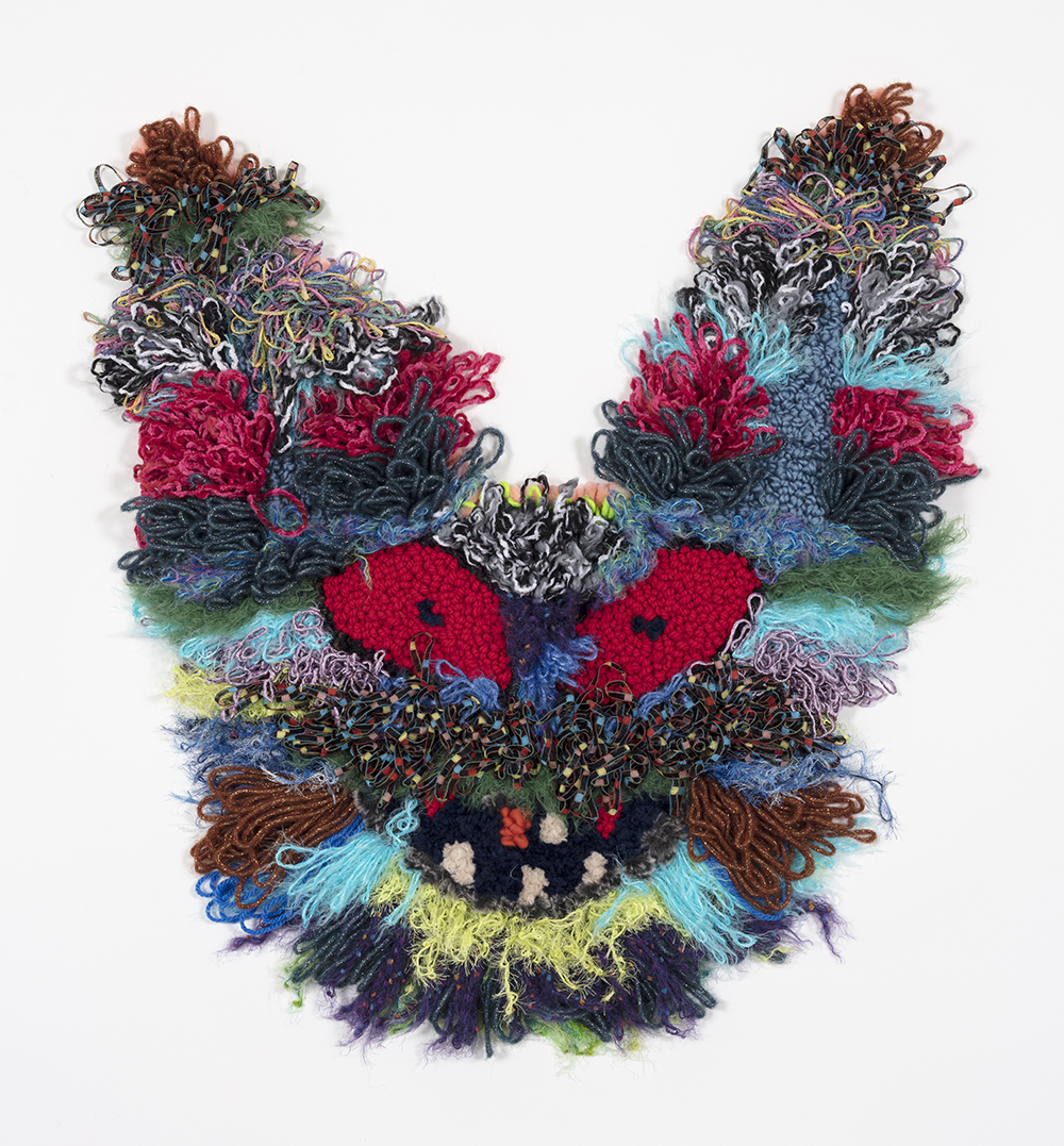 Hannah Epstein. <em>Blood Bunny</em>, 2019. Wool, acrylic, polyester and burlap, 36 x 35 inches (91.4 x 88.9 cm)
