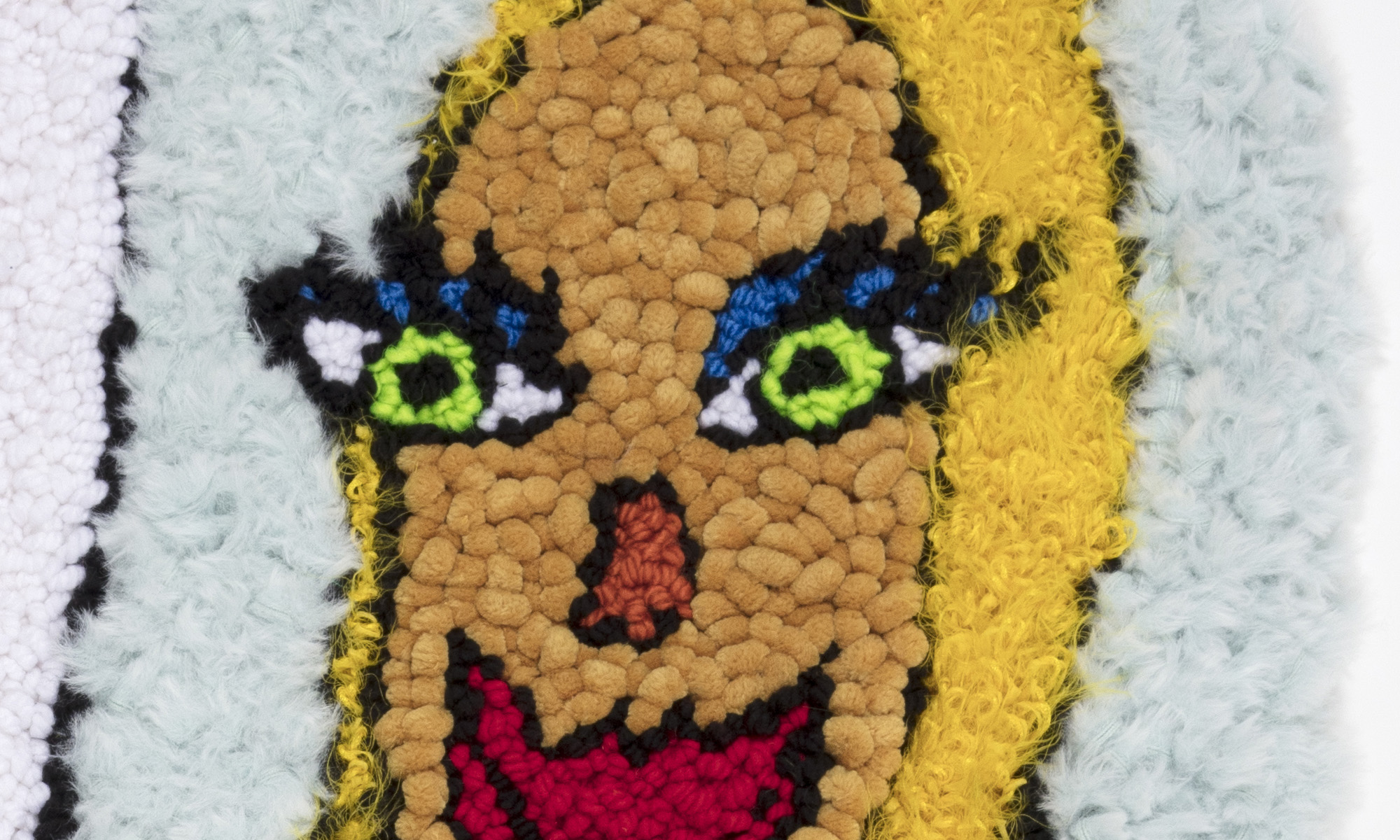 Hannah Epstein. <em>Hot Girl Summer</em>, 2019. Wool, acrylic and burlap, 56 x 29 inches  (142.2 x 73.7 cm) Detail
