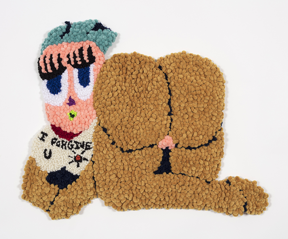 Hannah Epstein. <em>Forgive Without Apology</em>, 2019. Wool, acrylic and burlap, 23 x 27 inches  (58.4 x 68.6 cm)