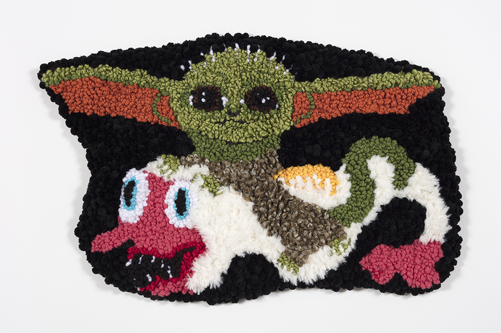 Hannah Epstein. <em>Baby Yoda Riding My Desire to Have a Child</em>, 2019. Wool, polyester, cotton and burlap, 19 x 28 inches  (48.3 x 71.1 cm)