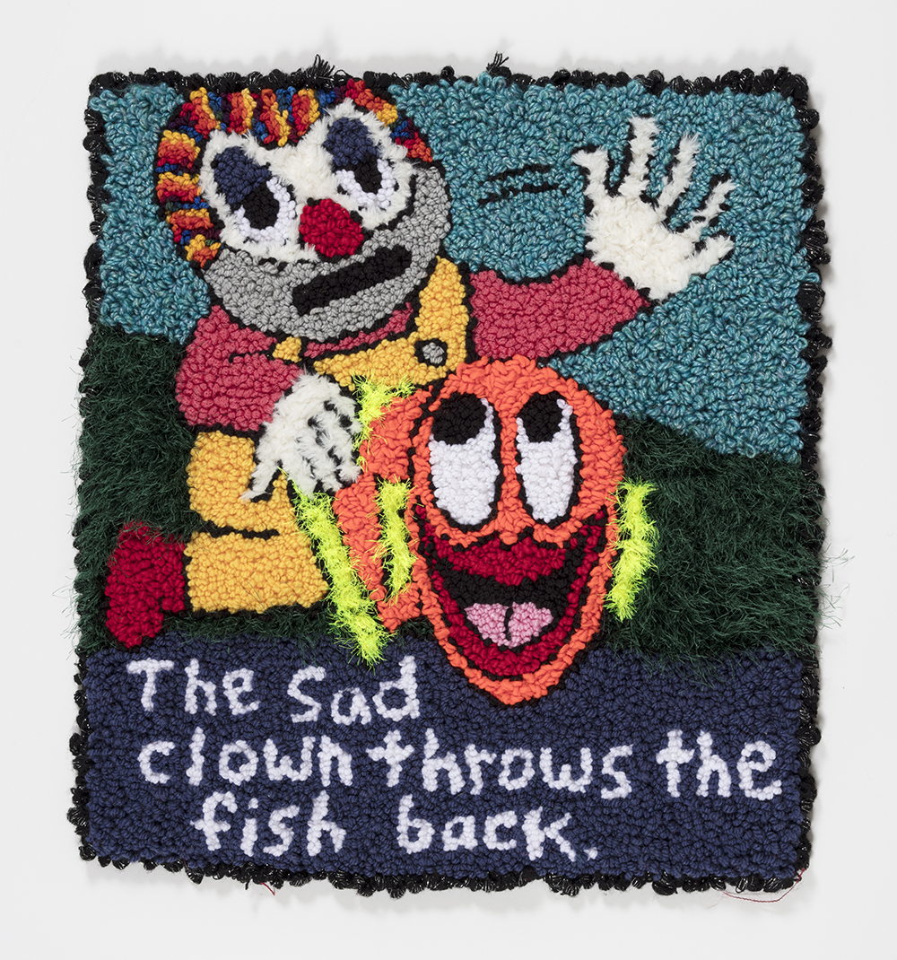 Hannah Epstein.<em> The Sad Clown Throws the Fish Back</em>, 2019. Wool, acrylic, polyester and burlap, 31 x 27 inches  (78.7 x 68.6 cm)
