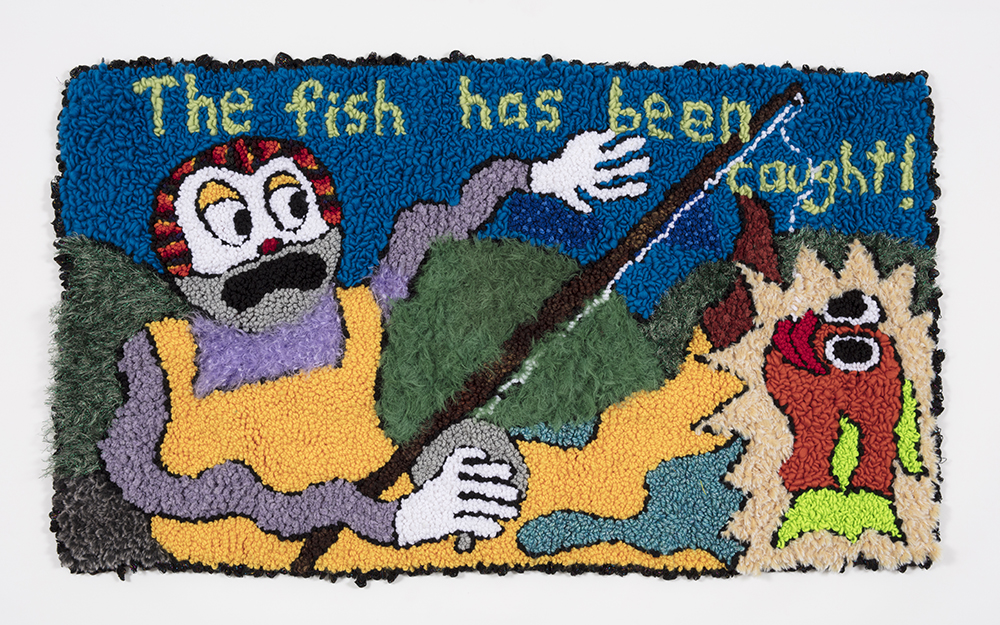 Hannah Epstein.<em> The Fish Has Been Caught</em>, 2019. Wool, acrylic, polyester and burlap, 32 x 54 inches  (81.3 x 137.2 cm)
