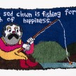 Hannah Epstein.<em> The Sad Clown is Fishing for the Fish of Happiness</em>, 2019. Wool, acrylic, polyester and burlap, 32 x 55 inches  (81.3 x 139.7 cm) thumbnail