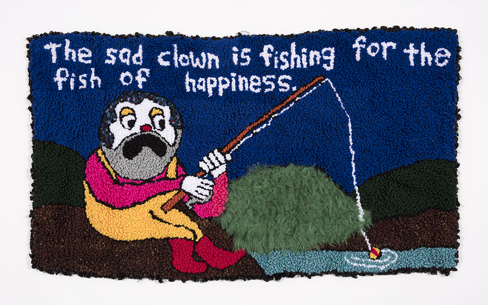Hannah Epstein.<em> The Sad Clown is Fishing for the Fish of Happiness</em>, 2019. Wool, acrylic, polyester and burlap, 32 x 55 inches  (81.3 x 139.7 cm)