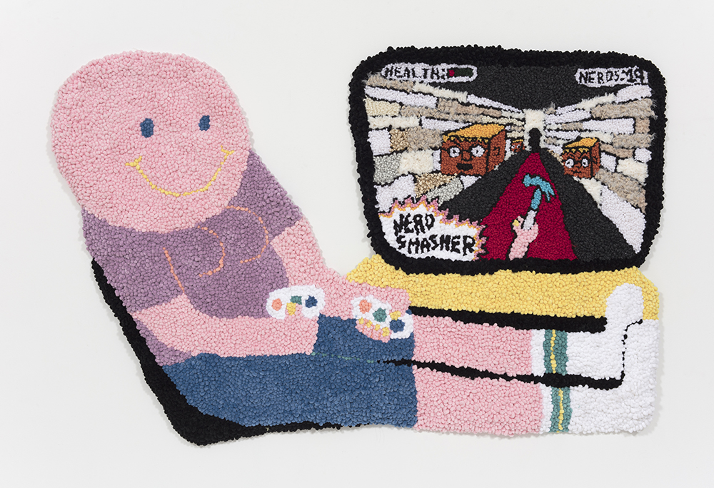 Hannah Epstein. <em>Nerd Smasher</em>, 2019. Wool, polyester, cotton and burlap, 74 x 47 inches  (188 x 119.4 cm)