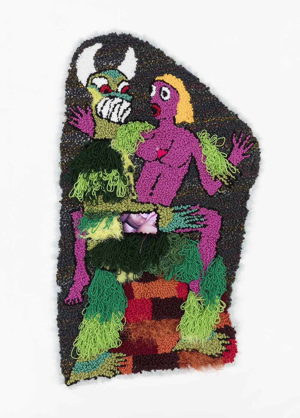 Hannah Epstein. <em>Demon Daddy Fuck Fantasy</em>, 2019. Wool, acrylic, polyester, burlap and video, 52 1/2 x 31 1/2 inches  (133.4 x 80 cm)