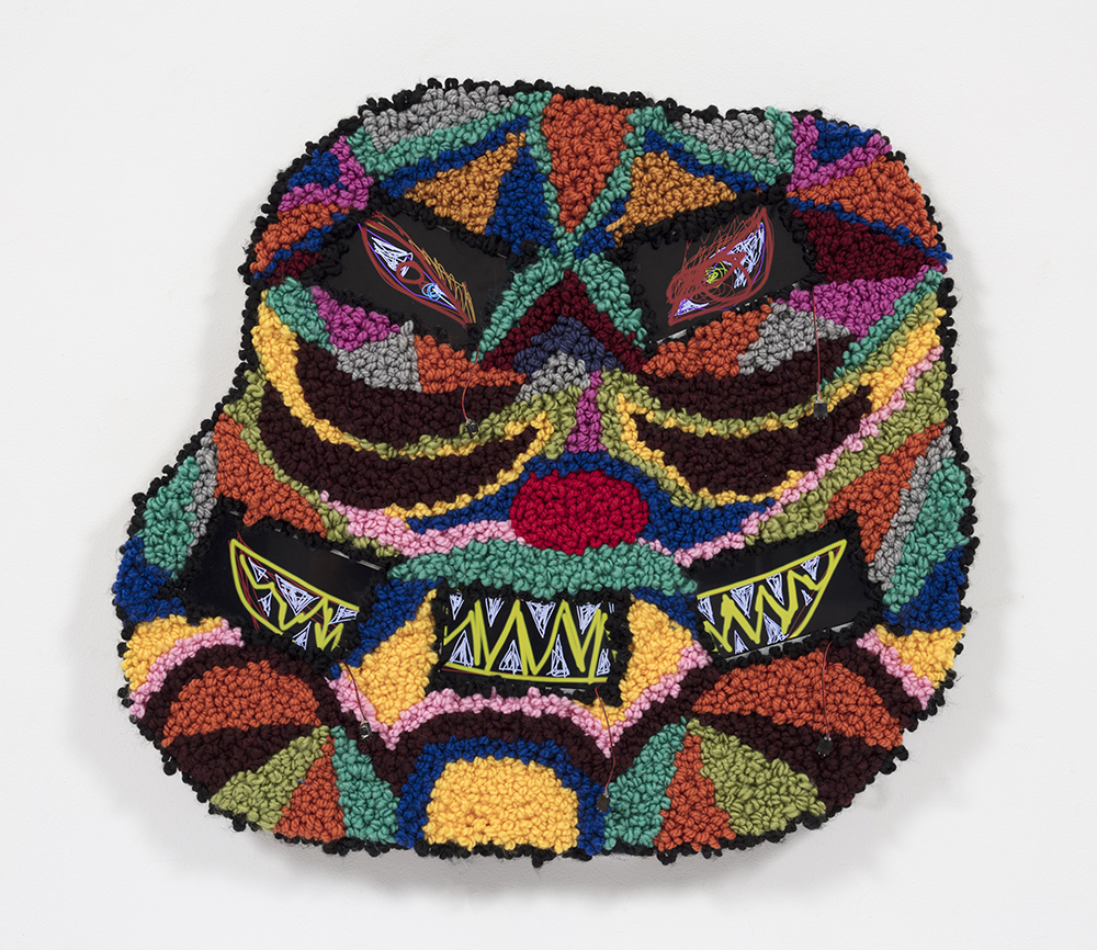 Hannah Epstein. <em>Eye Dazzler</em>, 2020. Wool, polyester, burlap and video screens with circuit board players, 26 1/2 x 29 1/2 inches  (67.3 x 74.9 cm)
