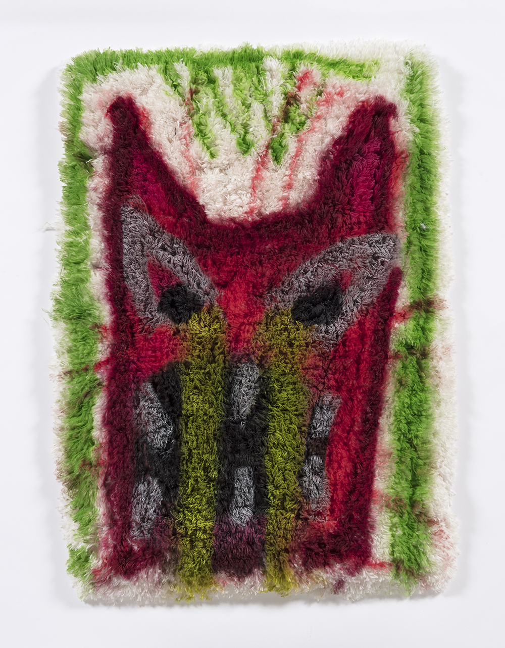 Hannah Epstein. <em>Rage Rug</em>, 2019. Spray paint on found rug, 37 1/2 x 25 inches  (95.3 x 63.5 cm)