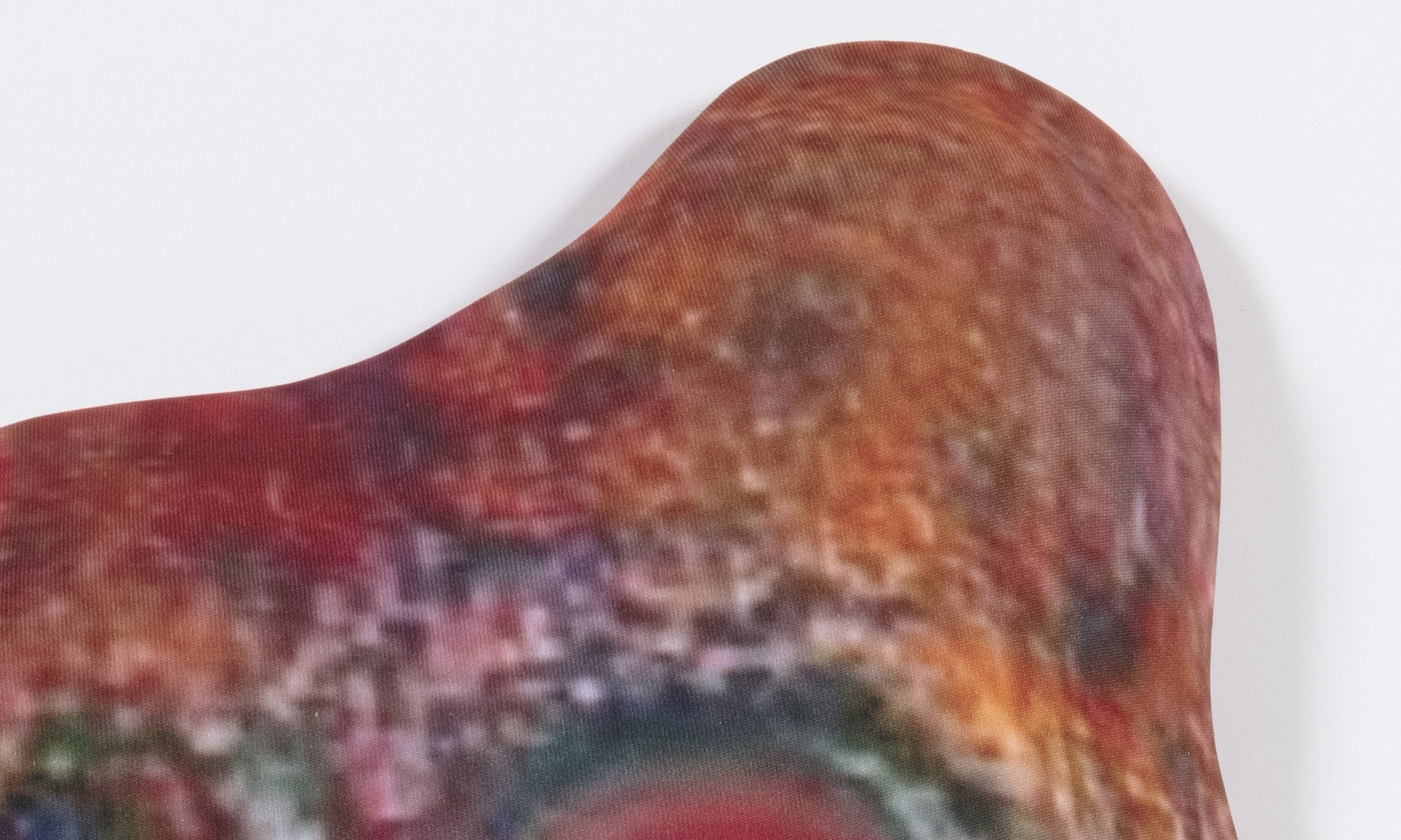 Hannah Epstein. <em>Burgermeister</em>, 2020. Digital print on lycra; polyfill and wood, 23 1/2 x 17 1/2 x 3 inches (59.7 x 44.5 x 7.6 cm) Detail