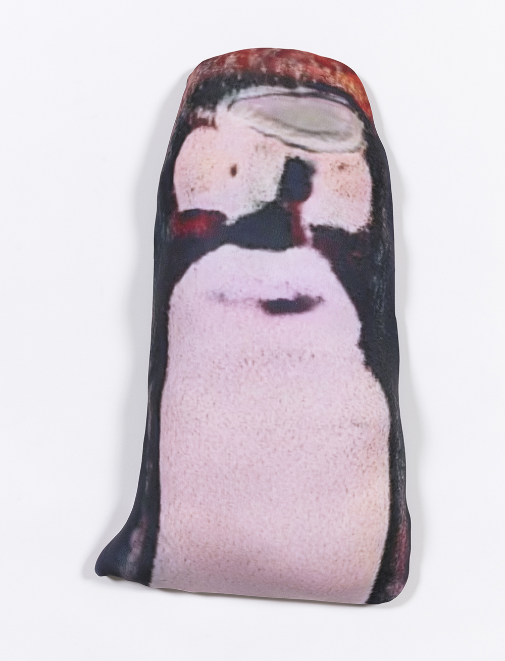 Hannah Epstein. <em>Mutant Penguin</em>, 2020. Digital print on lycra; polyfill and wood, 22 x 12 x 3 inches (55.9 x 30.5 x 7.6 cm)
