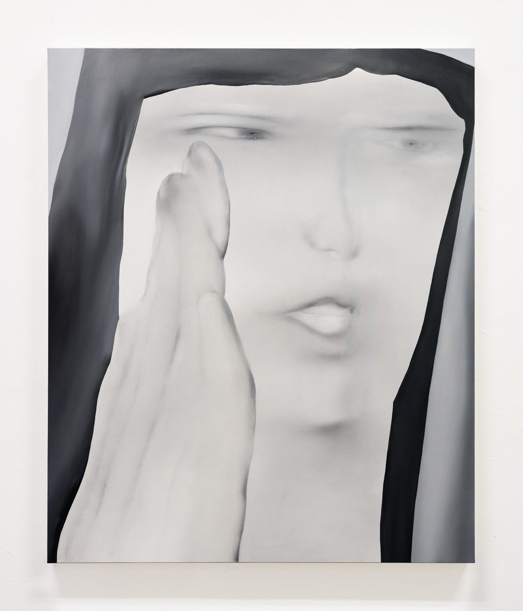 Jingze Du. <em>Secrets</em>, 2020. Oil on linen, 47 1/4 x 39 3/8 inches (120 x 100 cm)