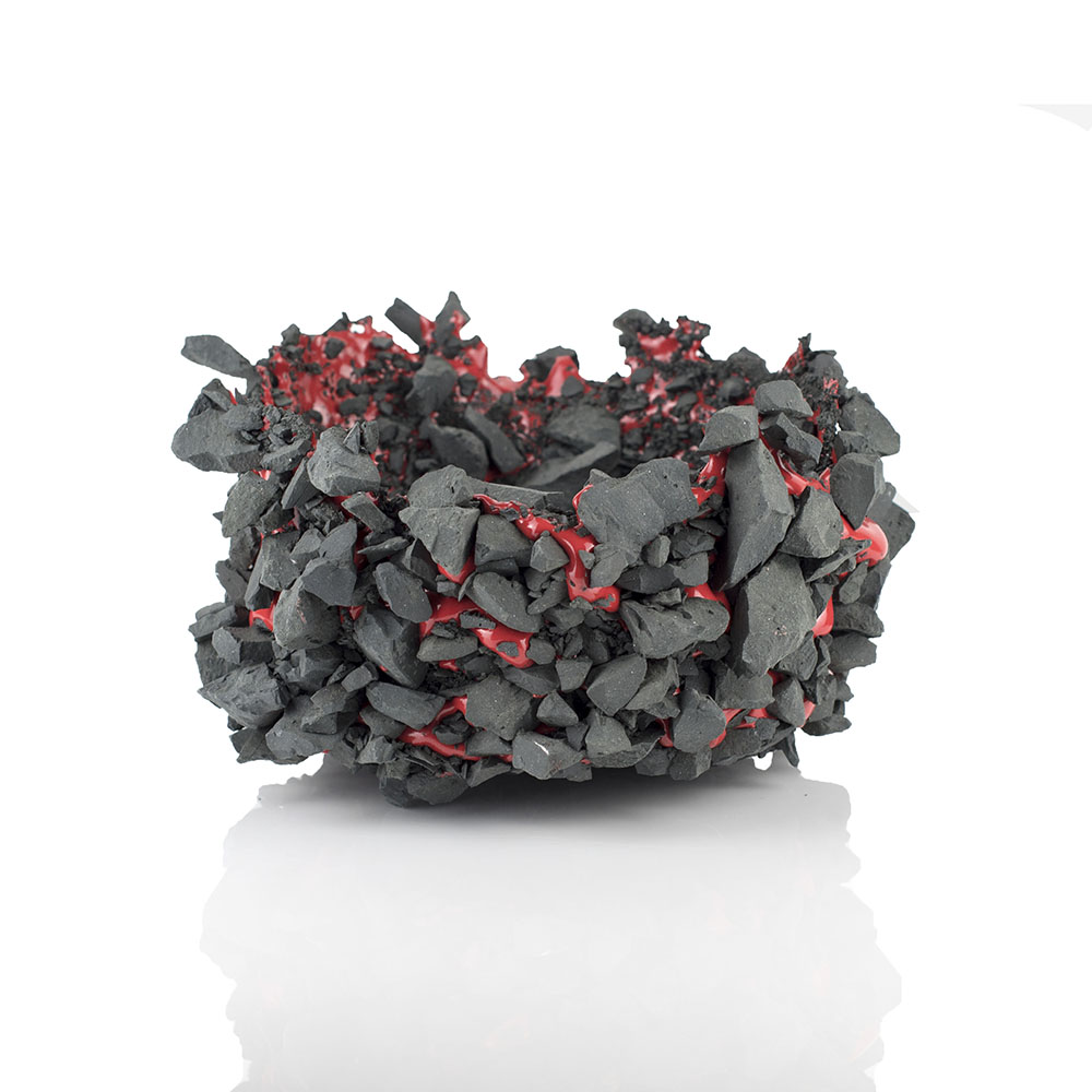 Kiyoshi Kaneshiro. <em>Fractured Vessel (37)</em>, 2020. Porcelain and glaze, 6 x 10 1/2 x 11 1/4 inches (15.2 x 26.7 x 28.6 cm)