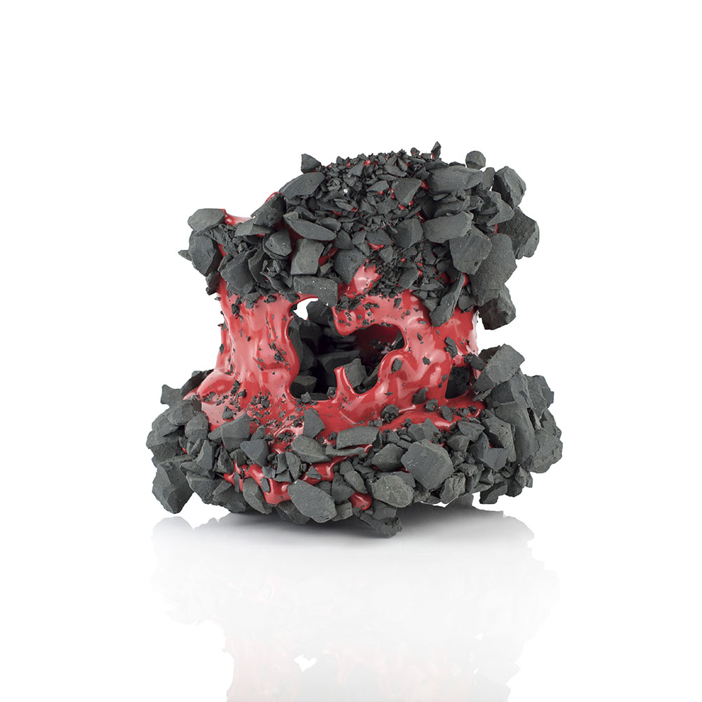 Kiyoshi Kaneshiro. <em>Fractured Vessel (38)</em>, 2020. Porcelain and glaze, 8 1/2 x 10 x 10 inches (21.6 x 25.4 x 25.4 cm)
