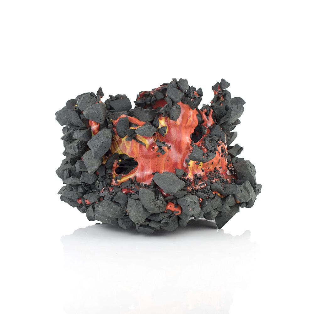 Kiyoshi Kaneshiro. <em>Fractured Vessel (41)</em>, 2020. Porcelain and glaze, 9 1/2 x 9 1/2 x 7 inches (24.1 x 24.1 x 17.8 cm)