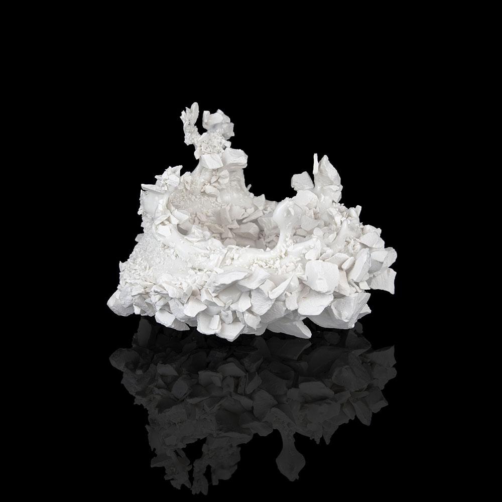 Kiyoshi Kaneshiro. <em>Fractured Vessel (44)</em>, 2020. Porcelain and glaze, 7 x 9 x 9 1/2 inches (17.8 x 22.9 x 24.1 cm)