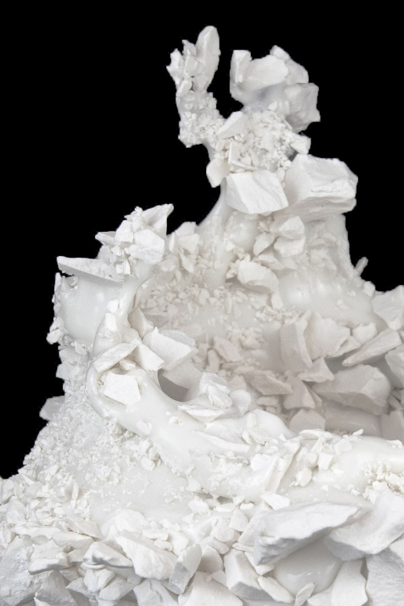 Kiyoshi Kaneshiro. <em>Fractured Vessel (44)</em>, 2020. Porcelain and glaze, 7 x 9 x 9 1/2 inches (17.8 x 22.9 x 24.1 cm) Detail