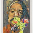 Yung Jake. <em>Untitled Self-Portrait (sasha, knuckles shigeo, kirby, samus, ko, idaho and bender)</em>, 2020. Oil on found metal; powder-coated steel support, 36 x 24 inches  (91.4 x 61 cm) thumbnail