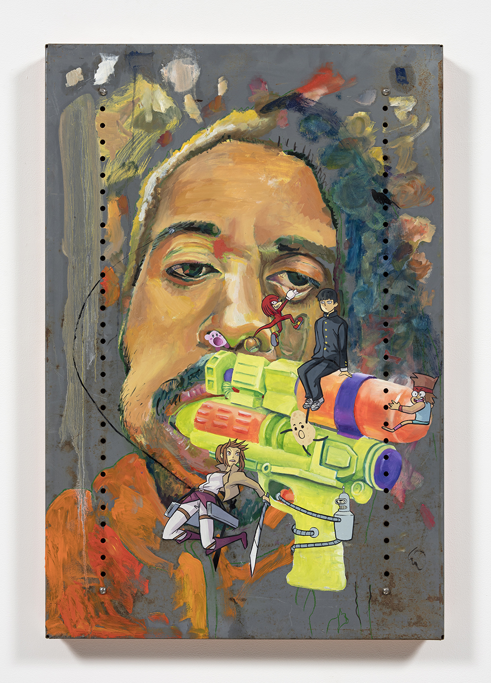 Yung Jake. <em>Untitled Self-Portrait (sasha, knuckles shigeo, kirby, samus, ko, idaho and bender)</em>, 2020. Oil on found metal; powder-coated steel support, 36 x 24 inches  (91.4 x 61 cm)