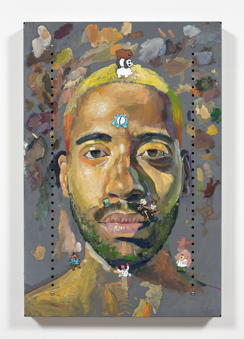 Yung Jake. <em>Untitled Self-Portrait 5 (grizzly, panda, ice bear, one-one, b-mo, calvin, edward, tito, peter and zoidberg)</em>, 2020. Oil on found metal; powder-coated steel support, 36 x 24 inches  (91.4 x 61 cm)
