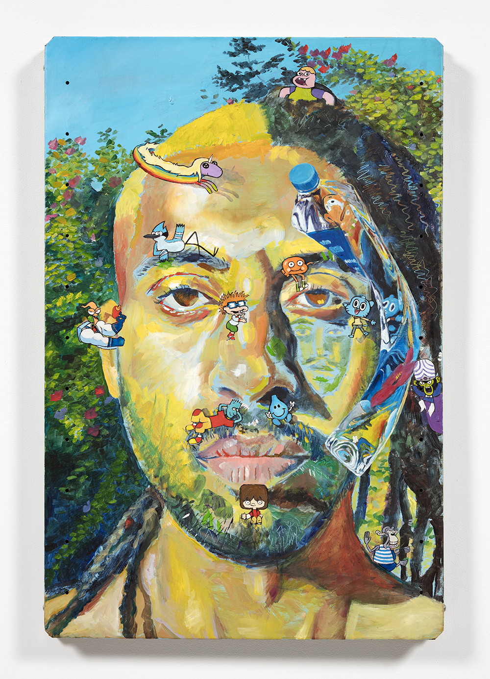 Yung Jake. <em>Untitled Self-Portrait 1 (princess rainicorn, mordecai, darwin, chuckie, gumball, earthworm jim, mojo jojo, wet willy, skeeter, mac + darwin)</em>, 2020. Oil on found metal; powder-coated steel support, 36 x 24 inches  (91.4 x 61 cm)