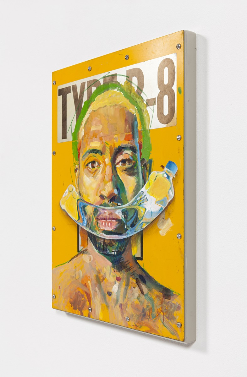 Yung Jake. <em>Untitled Self-Portrait 9</em>, 2020. Oil on found metal; powder-coated steel support, 19 x 14 inches  (48.3 x 35.6 cm)