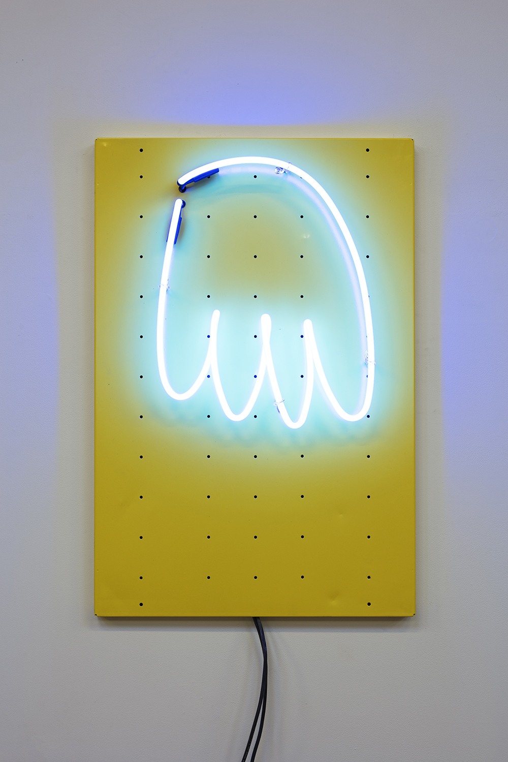 Yung Jake. <em>hair (blue)</em>, 2020. Neon on powder-coated steel, 36 x 24 inches  (91.4 x 61 cm)