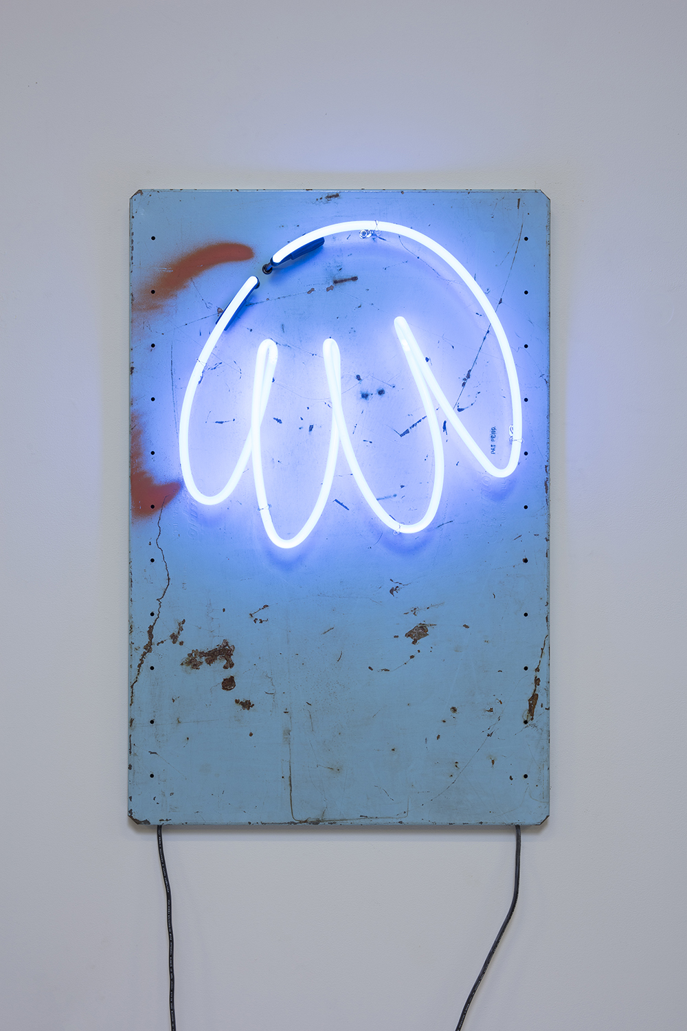 Yung Jake. <em>hair (also blue)</em>, 2020. Neon on found metal, 36 x 24 inches  (91.4 x 61 cm)