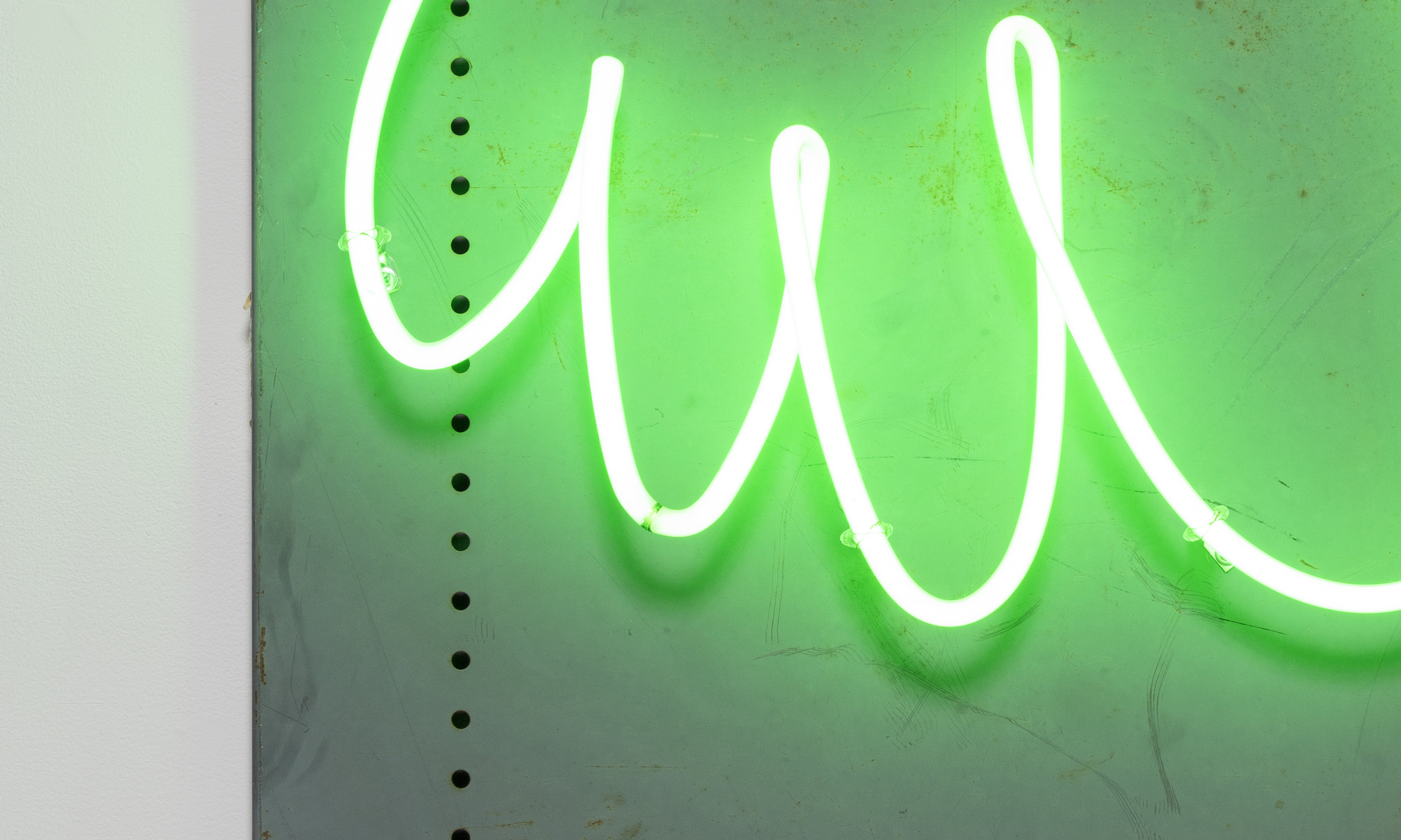 Yung Jake. <em>hair (green)</em>, 2020. Neon on found metal, 36 x 24 inches  (91.4 x 61 cm) Detail