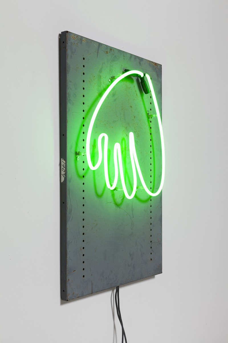 Yung Jake. <em>hair (green)</em>, 2020. Neon on found metal, 36 x 24 inches  (91.4 x 61 cm)