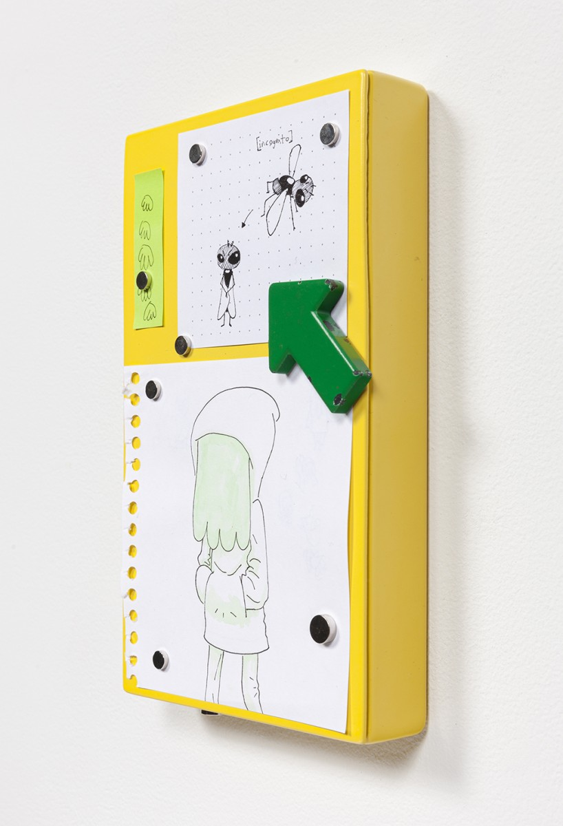 Yung Jake. <em>hairs, fly, kelvin w green hair</em>, 2020. Ink and water color on paper affixed with magnets on powder-coated steel, 7 1/8 x 4 1/4 inches  (18.1 x 10.8 cm)