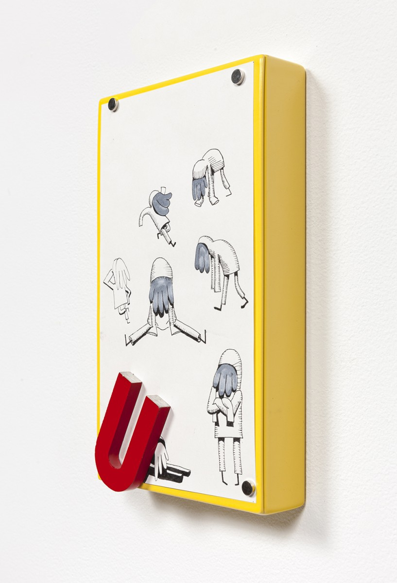 Yung Jake. <em>Poses</em>, 2020. Ink and colored pencil on paper affixed with magnets on powder-coated steel, 7 1/8 x 4 1/4 inches  (18.1 x 10.8 cm)