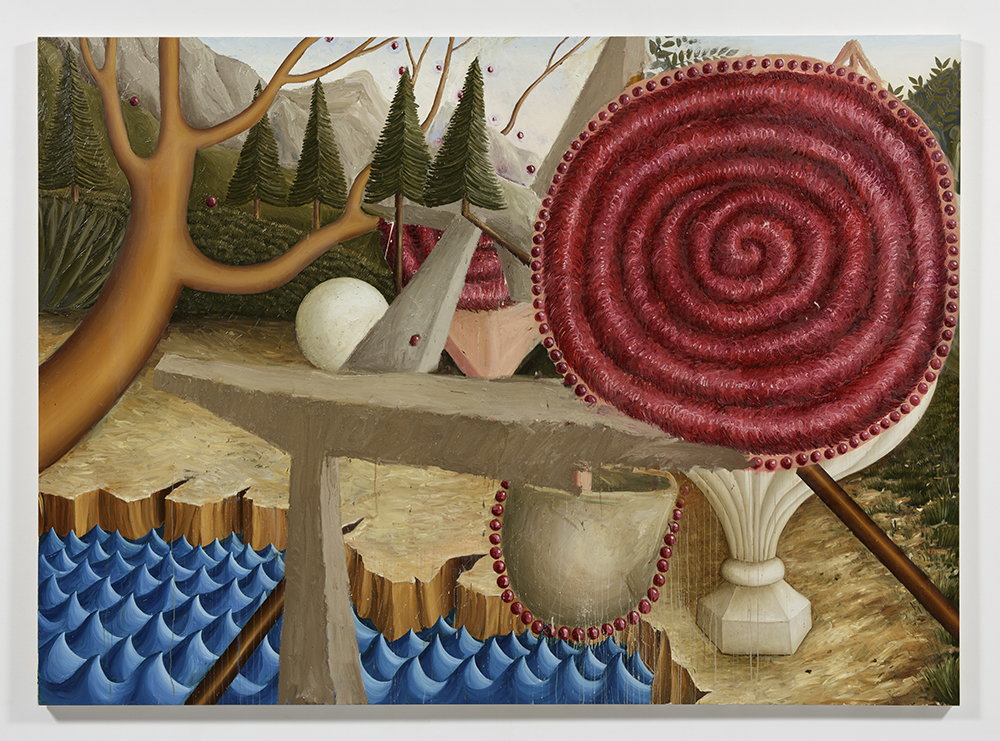 Siro Cugusi. <em>Forest IV</em>, 2019. Oil on canvas, 76 3/4 x 106 1/4 inches (195 x 270 cm)