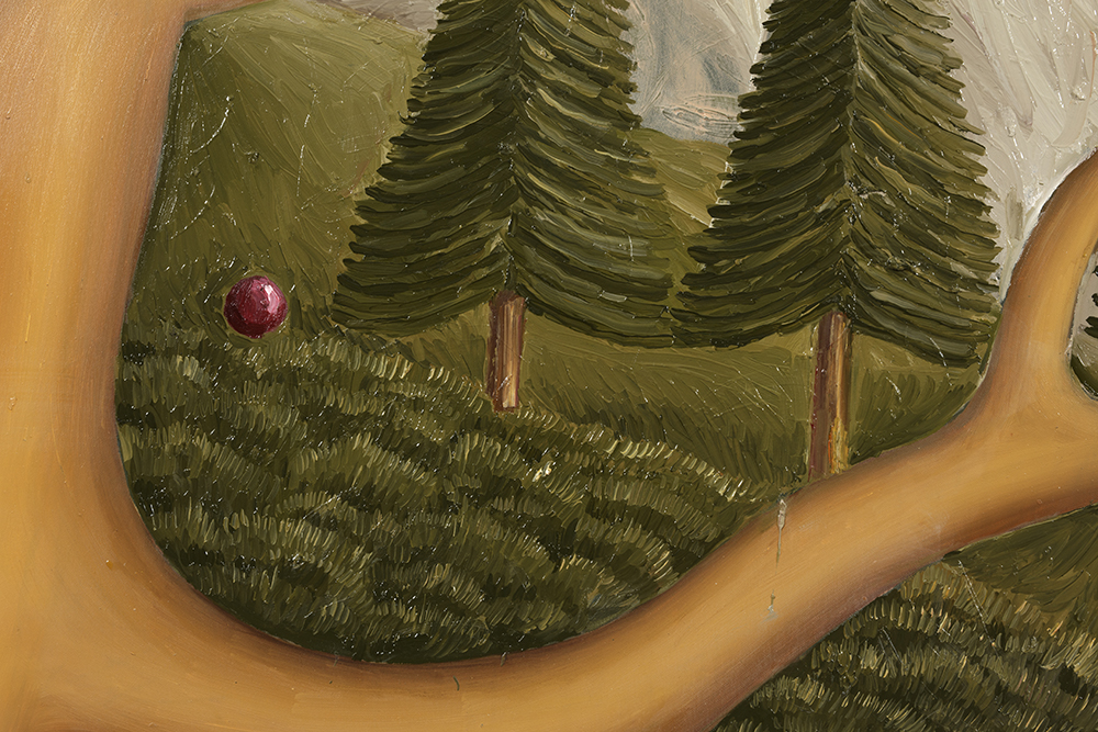 Siro Cugusi. <em>Forest IV</em>, 2019. Oil on canvas, 76 3/4 x 106 1/4 inches (195 x 270 cm) Detail
