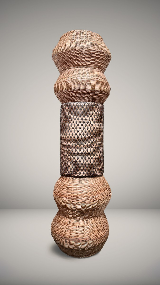 Eugenia Mendoza. <em>Basket Genealogy I</em>, 2020. Wicker and bronze, 118 1/8 x 31 1/2 x 31 1/2 inches (300 x 80 x 80 cm)