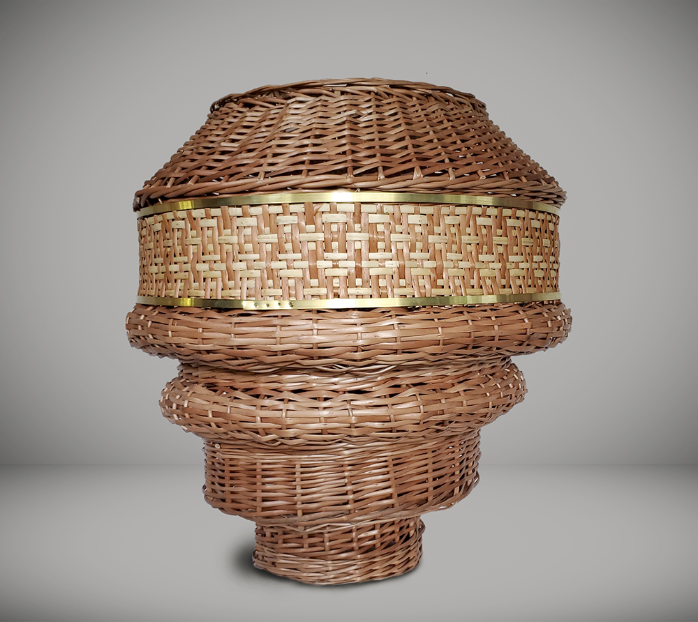 Eugenia Mendoza. <em>Santa María Bellow</em>, 2020. Wicker and bronze, 26 3/8 x 23 5/8 x 23 5/8 inches (67 x 60 x 60 cm)