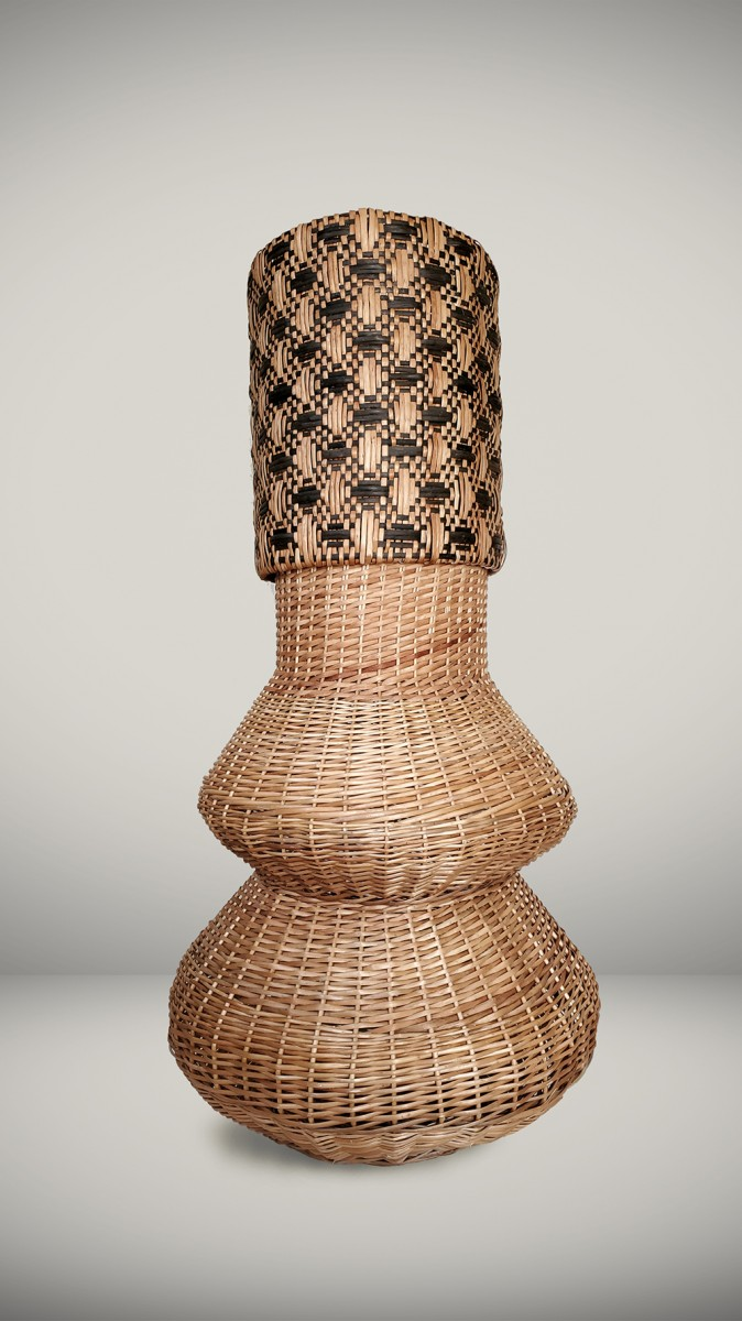 Eugenia Mendoza. <em>Basket Genealogy III</em>, 2020. Wicker and bronze, 55 1/8 x 27 1/2 x 27 1/2 inches (140 x 70 x 70 cm)