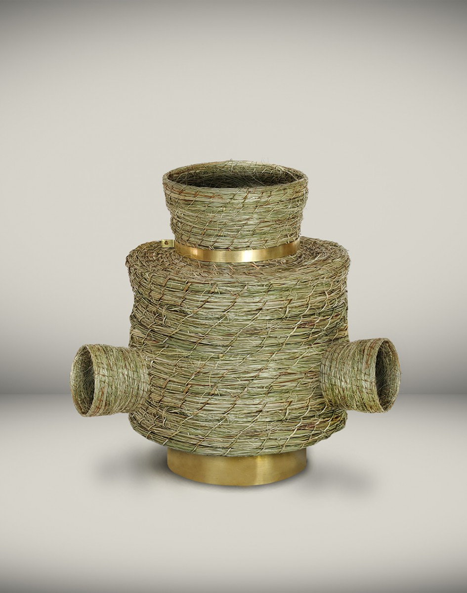 Eugenia Mendoza. <em>Basket Connection II</em>, 2020. Phormium and bronze, 10 1/4 x 10 5/8 x 10 5/8 inches (26 x 27 x 27 cm)