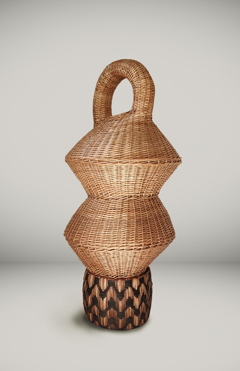 Eugenia Mendoza. <em>Basket Genealogy II</em>, 2020. Wicker and bronze, 63 x 27 1/2 x 27 1/2 inches (160 x 70 x 70 cm)