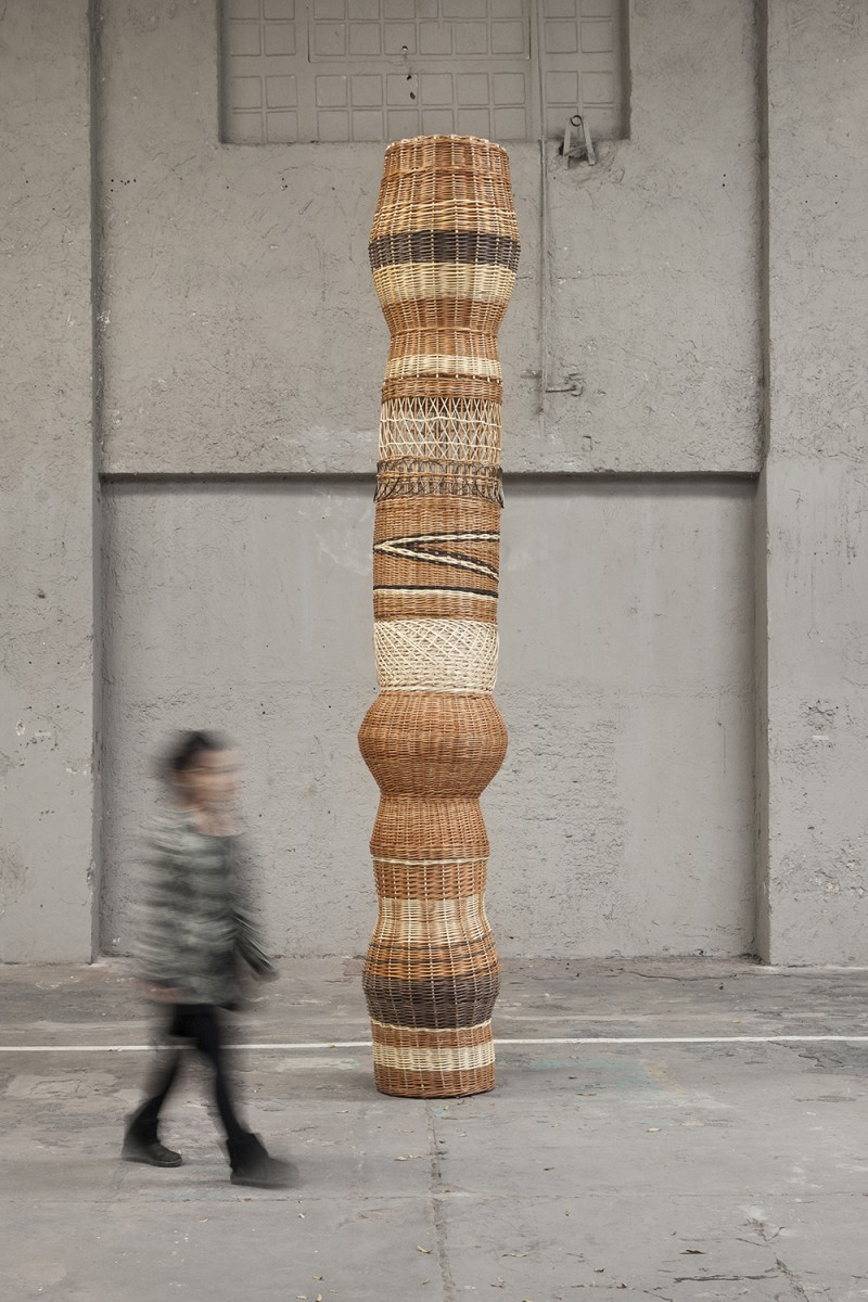 Eugenia Mendoza. <em>Column</em>, 2018. Wicker, 157 1/2 x 31 1/2 x 31 1/2 inches (400 x 80 x 80 cm)