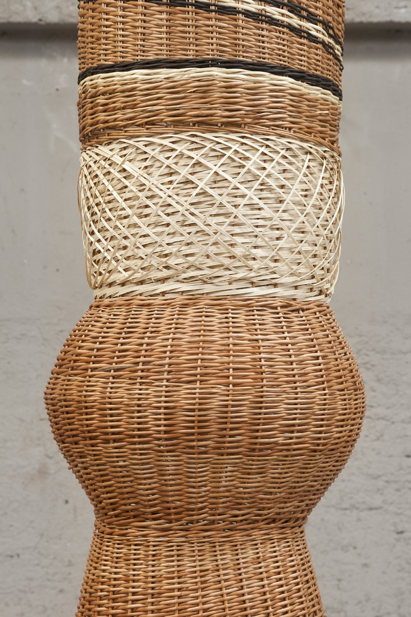 Eugenia Mendoza. <em>Column</em>, 2018. Wicker, 157 1/2 x 31 1/2 x 31 1/2 inches (400 x 80 x 80 cm) Detail