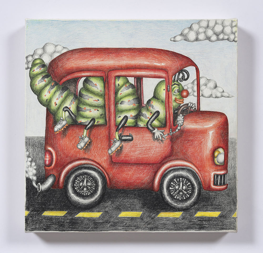 Samantha Rosenwald. <em>Peepee the Caterpillar Gets Her Learner's Permit</em>, 2019. Colored pencil on canvas, 14 x 14 inches (35.6 x 35.6 cm)