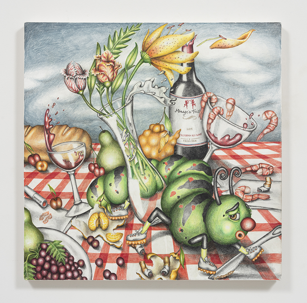 Samantha Rosenwald. <em>Peepee the Caterpillar Ruins a Picnic</em>, 2020. Colored pencil on canvas, 30 x 30 inches (76.2 x 76.2 cm)