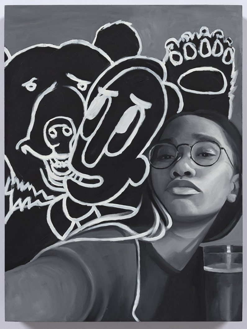 Brittany Tucker. <em>Him, Me, and Minimum the Bear</em>, 2020. Oil on panel, 15 3/4 x 11 3/4 inches (40 x 30 cm)