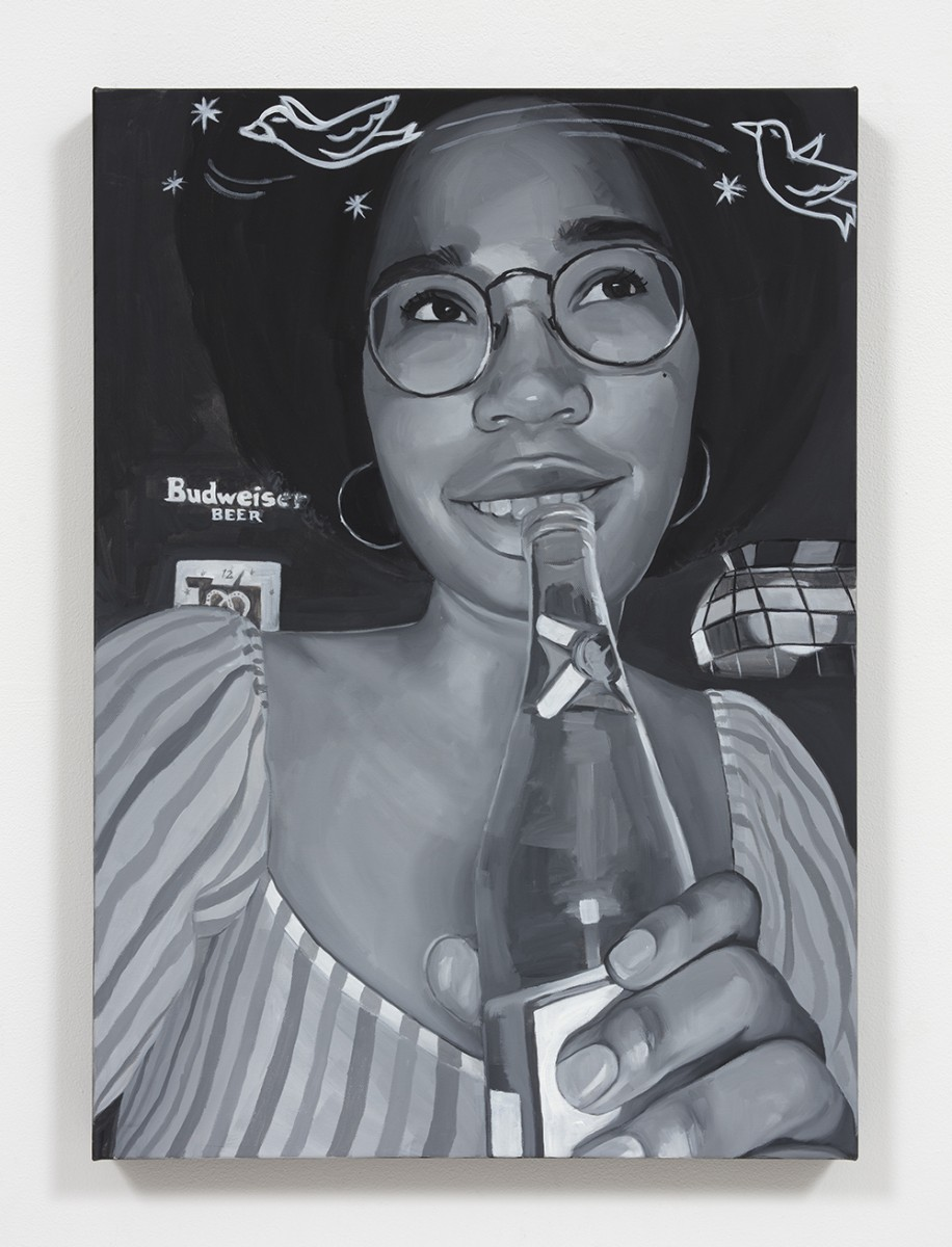 Brittany Tucker. <em>Drinking and Dating?</em>, 2020. Oil on canvas, 27 1/2 x 19 5/8 inches (70 x 50 cm)