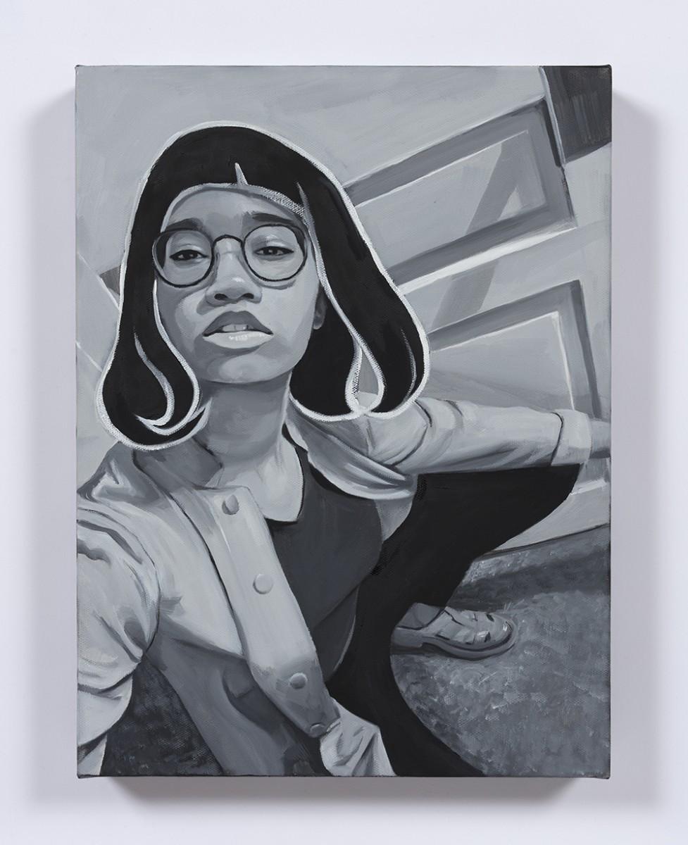 Brittany Tucker. <em>Wig</em>, 2020. Oil on canvas, 15 3/4 x 11 3/4 inches (40 x 30 cm)