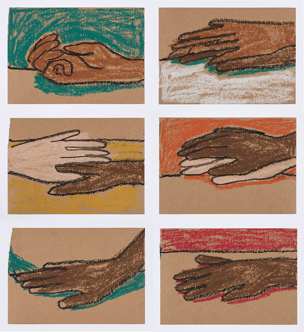 Brittany Tucker. <em>Hand Story</em>, 2020. Pastel on paper, 5 5/8 x 8 1/4 inches (15 x 21 cm) each